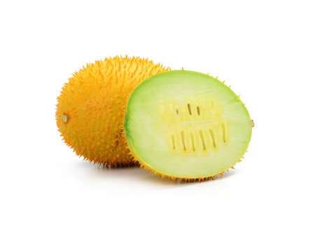 dicotyledon: Gac fruit, Baby Jackfruit, Spiny Bitter Gourd, Sweet Grourd or Cochinchin Gourd Stock Photo