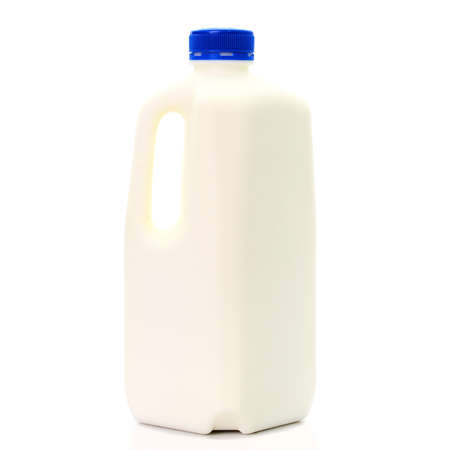 Milk Bottle with blud Cap Isolated on White Background Foto de archivo