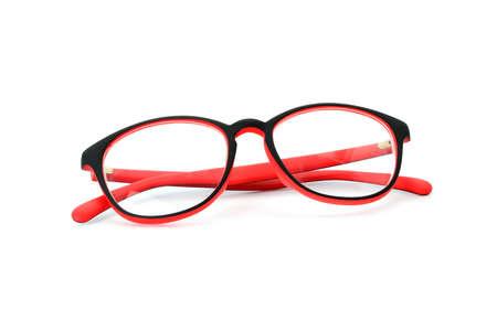 eye red: red black eye glasses isolated on white background
