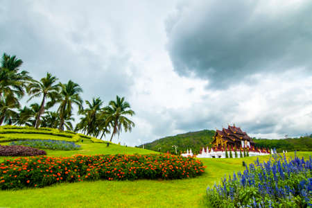 Ho Kham Luang Chiang Mai Royal Flora Ratchaphruek in the overcast Stock Photo