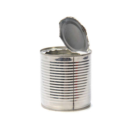 tinned goods: Empty opened tin Isolated on a white background