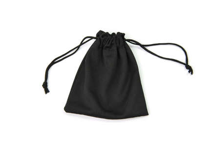 black drawstring bag isolated on white background Stock Photo