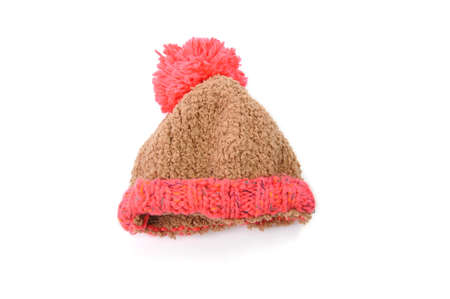 knitted hat with pompom isolated on white background