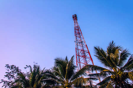telecommunication towers with antennas Stock Photo