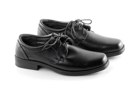 shoes black leather isolated on white background