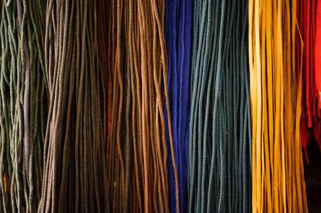 Multicolored shoelaces background