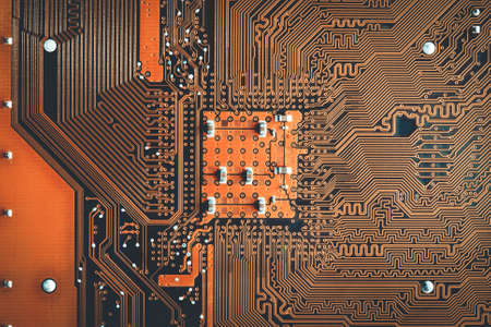 Abstract technology circuit board orange motherboard Stock fotó