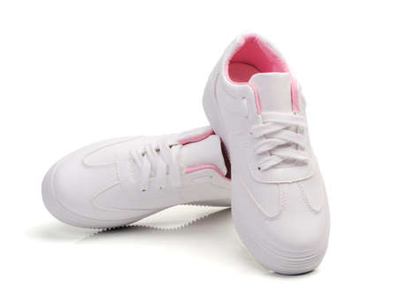 White sneakers fashion canvas isolated on a white background with clipping paths Stock fotó