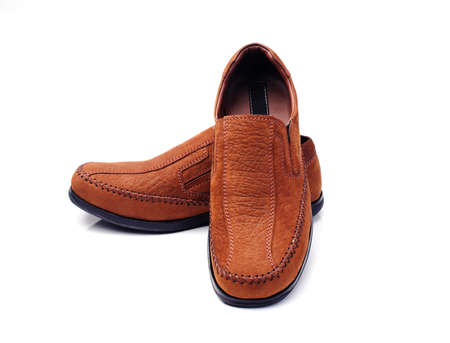 Brown leather men's fashion shoes on white