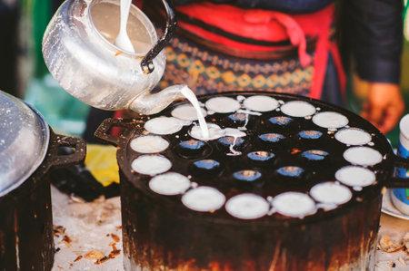 Making Knmcrk sweet dessert in Thai style