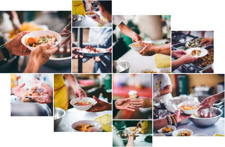 The concept of donating food and sharing food to the poor Reklamní fotografie