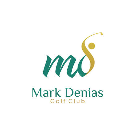 initial MD golf with golfer icon vector logo design, letter MD concept