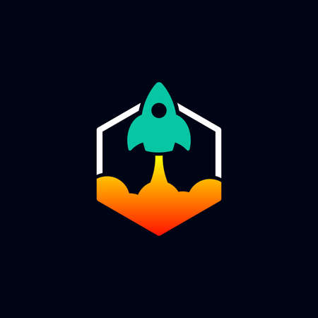 rocket logo design vector template with hexagon. innovation icon. science icon. discovery icon.  Ilustração