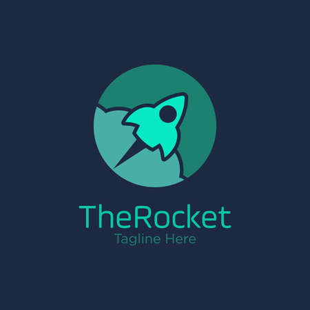 rocket logo design vector template with circle. innovation icon. science icon. discovery icon.