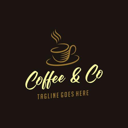 coffee vintage logotype with cup, mug icon concept design element. caffeine logotype. retro vintage insignia