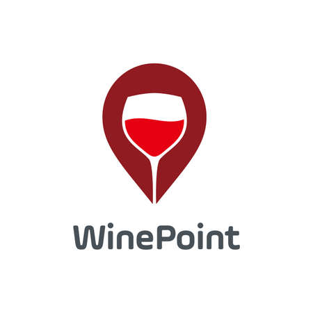 wine point logo vector design template. consisting of a wine glass icon with pointer icon. wine location. wine store. Çizim