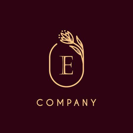 luxury monogram letter E logotype with flower icon concept. premium elegant alphabet/initial frame design vector. beauty industry, cosmetics, salon, boutique, company, corporate symbol icon