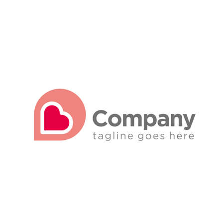 simple love logo icon with letter D concept template. company logo. heart logo.
