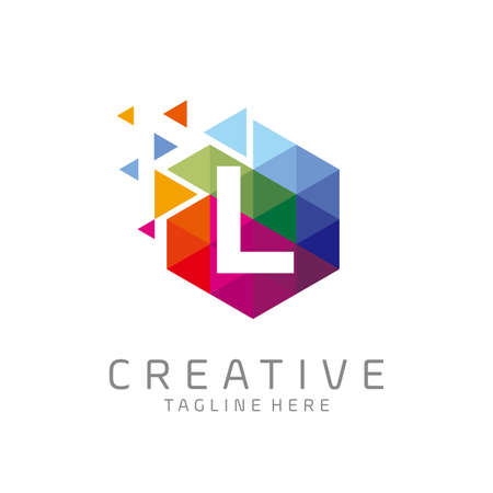 colorful letter L tech logo design vector with hexagon and pixel motion concept. multimedia, digital, technology, innovation symbol icon
