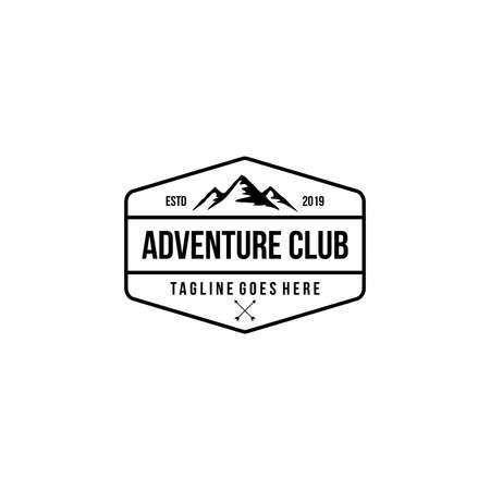 mountain adventure badge, label, emblem or logo design vector template. outdoor activities icon. hiking/climbing icon