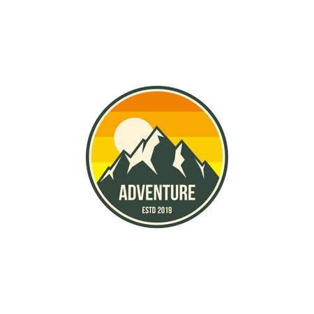 mountain adventure badge, label, emblem or logo design vector template. outdoor activities icon. hiking/climbing icon.