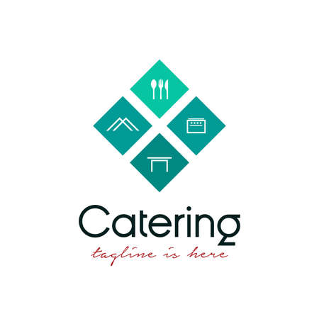geometric catering logo design vector template. catering logo with cooking/catering equipment, spoon and fork icon, tent icon, table icon, and stove icon concept design Logo