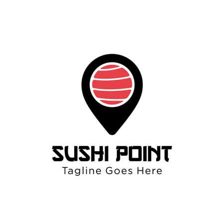 sushi point logo design vector template illustration. sushi restaurant, sushi bar, sashimi, Japanese food symbol icon