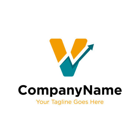 letter V trade marketing logo design vector. initial V and chart diagram graphic concept. company, corporate, business, finance symbol icon