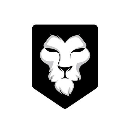 elegant lion head, lion face on shield logo design. animal wildlife vector illustration. universal brand template illustration