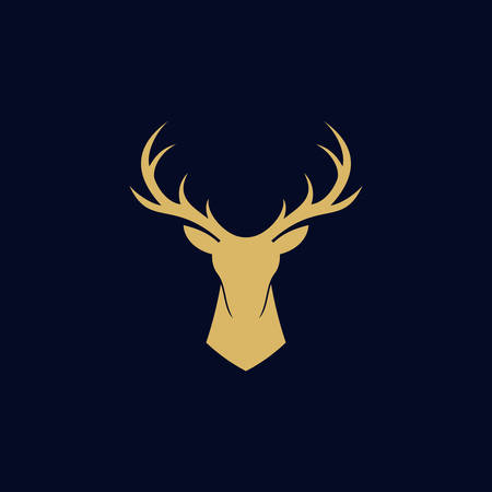 deer head abstract logo design vector template. modern flat antlers, wild animal illustration style