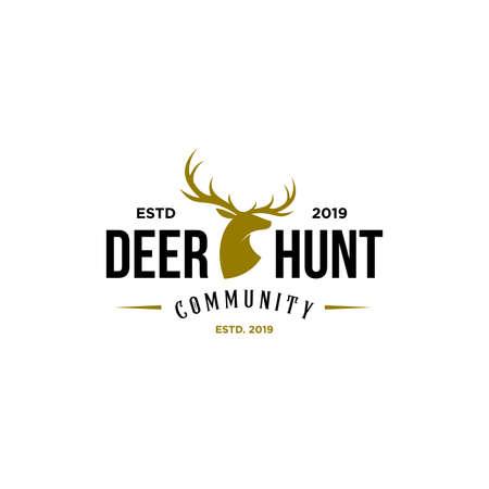 deer hunter logo, badge, emblem, label design template. vector illustration of deer head silhouette and arrow. hunter club, deer hunting symbol icon