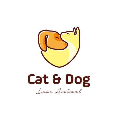 cat and dog pet love logo with line art, monoline, outline concept design illustration. pet shop, pet services, pet clinic symbol icon