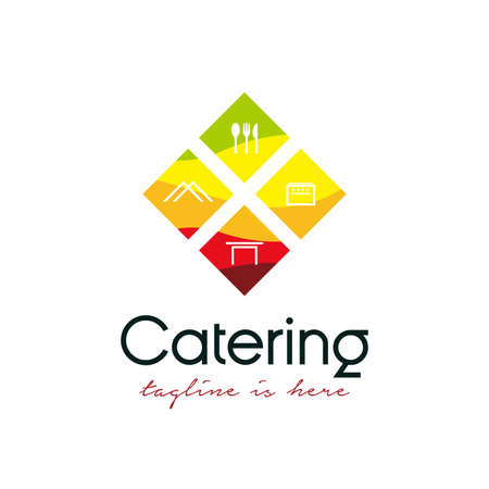 fresh catering logo design vector template illustration. catering logo with cooking/catering equipment, spoon and fork icon, tent icon, table icon, and stove icon concept design
