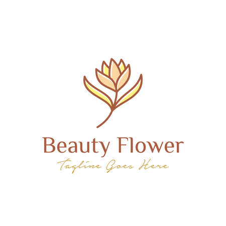 luxurious beauty flower logo design. flower and leaves logotype. universal premium brand template. beauty industry, cosmetics, jewelry, boutique, salon, hotel symbol icon