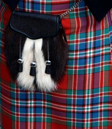 Traditional Scottish kilt with sporran photo