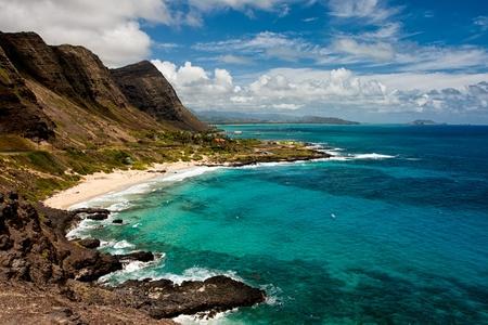 honolulu: Scenic view of Makapu Beach in Hawaii Stock Photo