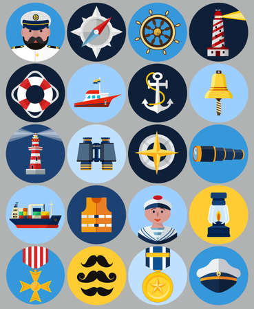 life bouy: Vector Flat Nautical Icons