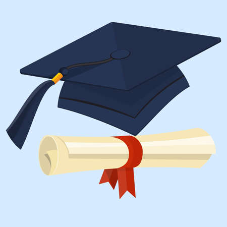 Flat Diploma and Graduation Cap Vector