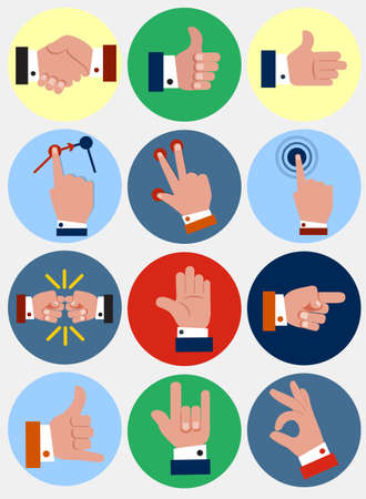 bump: Vector Illustration of Collection of Hand Gestures