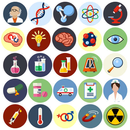 biology lab: Vector Science Flat Icons - Biotechnology