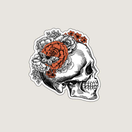 Halloween floral vintage skull illustration. Çizim