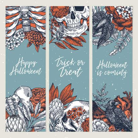 Halloween party vertical design templates. Vintage floral anatomy background Vector illustration