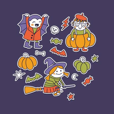 Halloween costumes kid illustration stickers collection Vector illustration