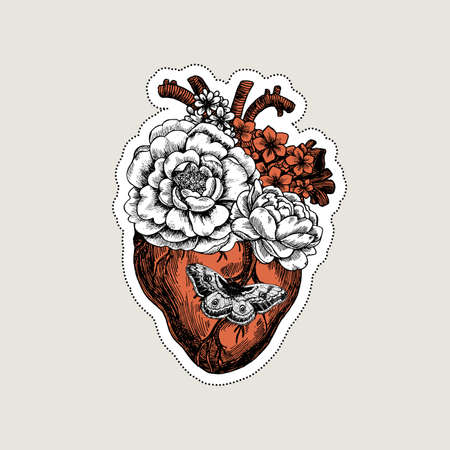 Tattoo anatomy vintage illustration. Floral anatomical heart Vector illustration