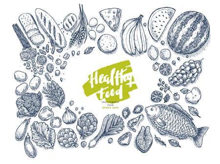 健康食品コレクション。良好な栄養状態のトップ ビュー表の背景。線形のグラフィック。ヒーローのイメージ。ベクトル図