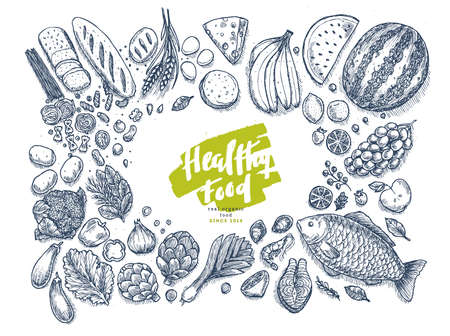 Healthy food collection. Good nutrition top view table background. Linear graphic. Hero image. Vector illustration