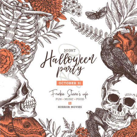 Halloween vintage party invitation. Halloween design template. Vector illustration Çizim