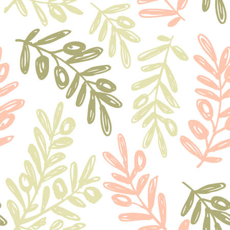 Olive branch background. Sketchy style olive illustration. Seamless pattern. Vector illustration Vettoriali