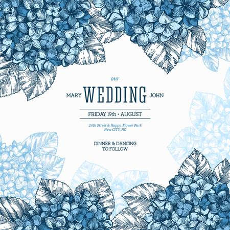 수 국 빈티지 결혼식 초대장입니다. 새겨진 된 스타일 꽃 결혼식 초대장입니다. 벡터 일러스트 레이 션