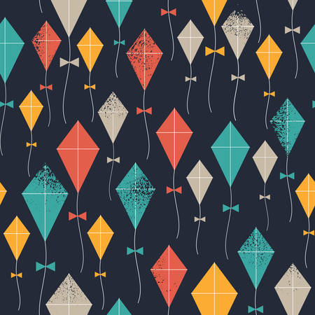 Kites seamless pattern. Flying kites background. Retro fabric style. Vector illustration Vektorové ilustrace